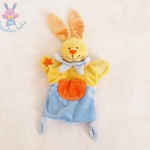 Doudou marionnette Lapin jaune bleu orange étoile poche BABY LUNA