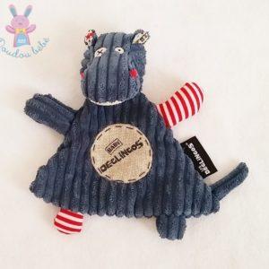 Doudou plat Hippopotame bleu LES DEGLINGOS