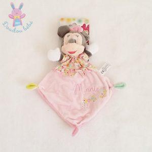 Doudou plat Minnie rose fleurs DISNEY