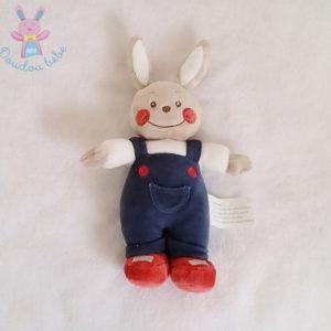 Doudou Lapin beige blanc rouge bleu KIMBALOO