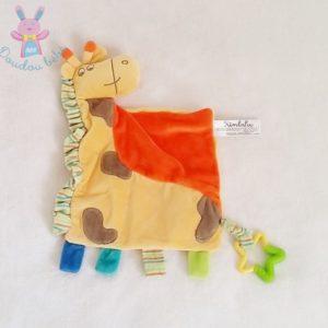 Doudou plat Girafe orange jaune étoile KIMBALOO