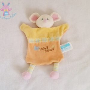 "Doudou plat Souris jaune saumon ""Happy mouse"" KIMBALOO"