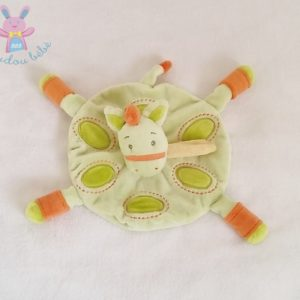 Doudou plat Cheval rond vert orange KIMBALOO
