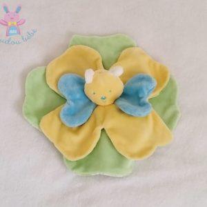 Doudou plat Papillon jaune bleu vert dessous fleurs KIMBALOO