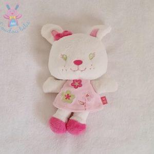 Doudou Lapin blanc robe rose fleurs KIMBALOO
