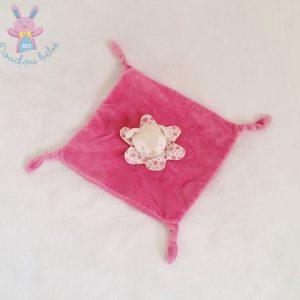 Doudou plat Biche Faon rose collerette fleurs KIMBALOO