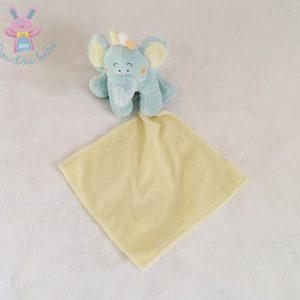 Doudou éléphant bleu mouchoir jaune KIMBALOO