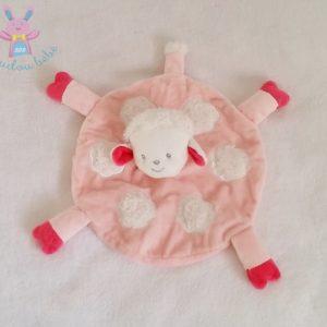 Doudou plat Mouton rond rose blanc nuages KIMBALOO