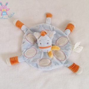 Doudou plat Cheval rond bleu orange gris KIMBALOO