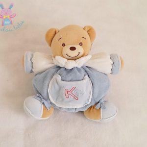 Doudou Ours boule bleu blanc foulard poche brodé K 23 cm KALOO