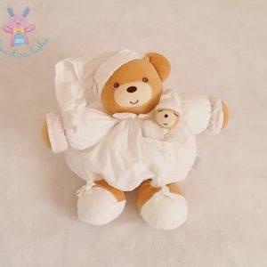 Doudou Ours boule beige blanc poche avec bébé 29 cm KALOO