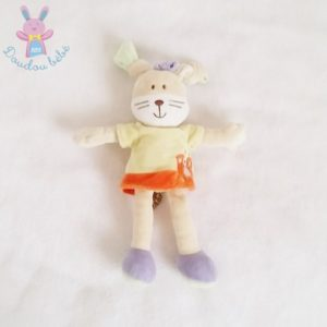 Doudou Lapin robe jaune orange MOTS D'ENFANTS