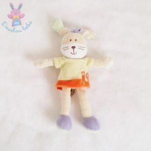 Doudou Lapin robe jaune orange MOTS D'ENFANTS