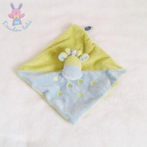 Doudou plat Girafe bleu et vert MOTS D'ENFANTS