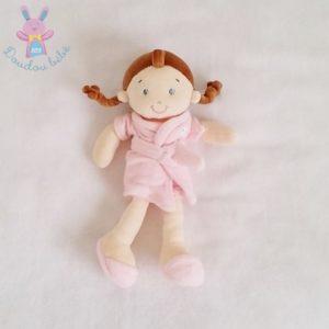 Doudou Poupée fille peignoir rose 26 cm MOTS D'ENFANTS