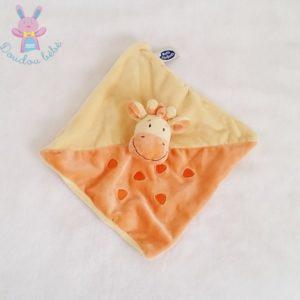 Doudou plat Girafe Vache orange jaune MOTS D'ENFANTS