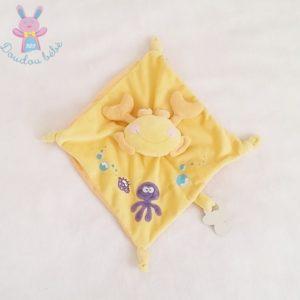 Doudou plat Crabe jaune pieuvre attache tétine MOTS D'ENFANTS