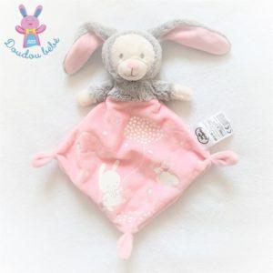Doudou plat Ours lapin rose luminescent MOTS D'ENFANTS