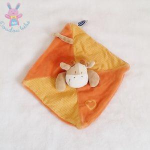 Doudou plat Vache beige orange et rayé MOTS D'ENFANTS