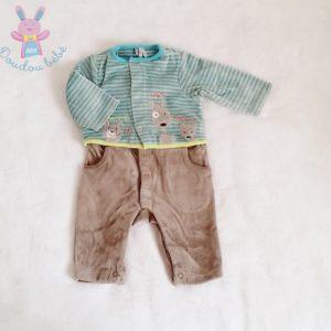 Combinaison velours taupe rayé bébé garçon 1 MOIS ORCHESTRA