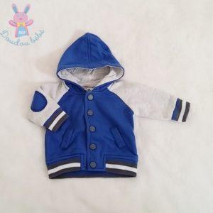 Sweat capuche bleu gris bébé garçon 0 MOIS