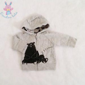 Sweat capuche zippé gris Ours bébé garçon 0 MOIS