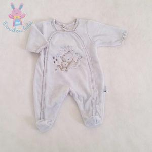Pyjama velours bleu bébé garçon 00 MOIS ABSORBA