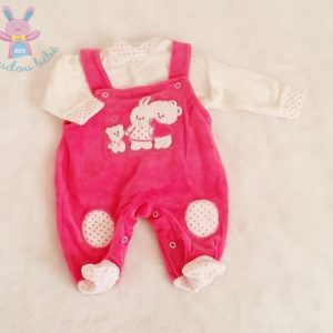 Ensemble Salopette velours rose + T-shirt velours blanc bébé fille 0 MOIS