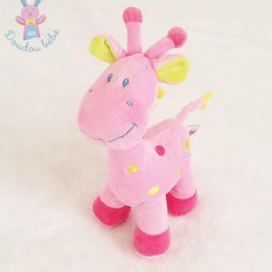 Doudou Girafe rose pois colorés POMMETTE