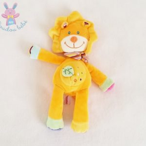 Doudou Lion orange et coloré feuille verte POMMETTE