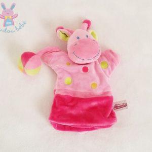 Doudou marionnette Girafe rose pois et balle colorés POMMETTE
