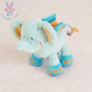 Doudou éléphant bleu orange POMMETTE