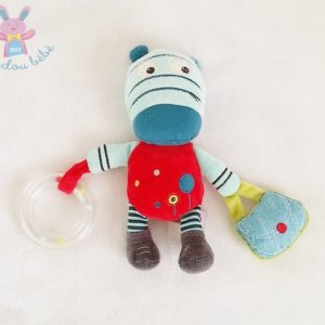 Doudou Zèbre rouge bleu anneau petit sac jouet éveil bébé POMMETTE