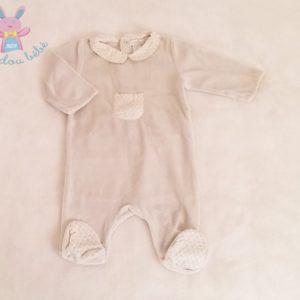 Pyjama velours gris et fleurs bébé fille 3 MOIS OBAIBI