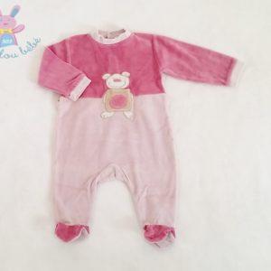 Pyjama velours mauve Ours bébé fille 6 MOIS