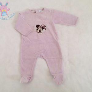 Pyjama velours mauve Minnie bébé fille 6 MOIS DISNEY