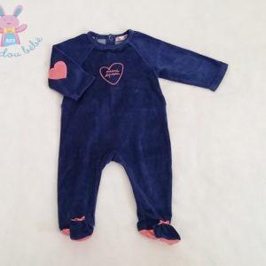 Pyjama velours bleu foncé et rose cœurs bébé fille 6 MOIS DPAM