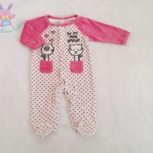 """Pyjama velours rose blanc """"Tu es mon amour"""" bébé fille 6 MOIS"""