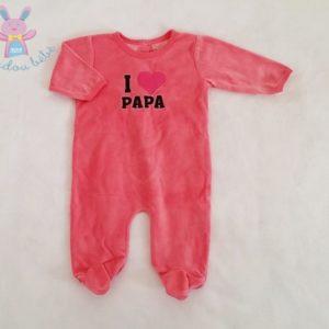 "Pyjama velours rose ""I love papa"" bébé fille 6 MOIS"