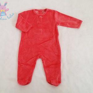 Pyjama velours rose à pois bébé fille 6 MOIS DPAM
