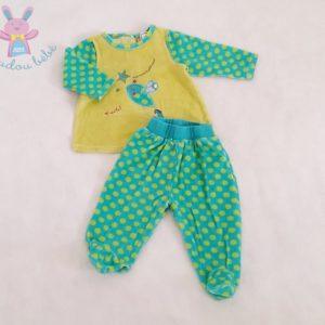 Pyjama velours 2 pièces vert à pois bébé fille 6 MOIS ORCHESTRA