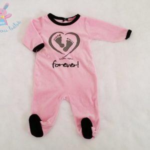 Pyjama velours rose et noir bébé fille 6 MOIS