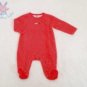 Pyjama velours rouge à pois blancs bébé fille 6 MOIS ORCHESTRA