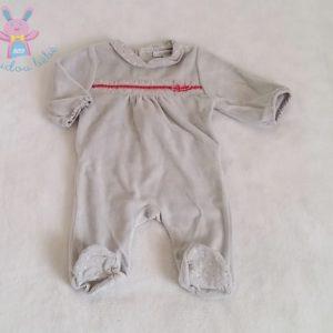 Pyjama velours gris bébé fille 1 MOIS OBAIBI