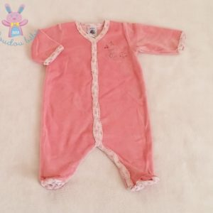 Pyjama velours rose Fée bébé fille 1 MOIS PETIT BATEAU