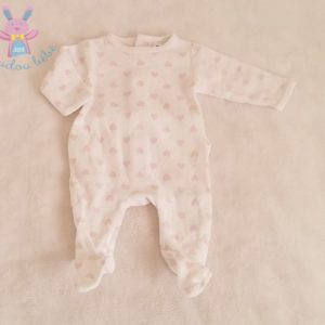 Pyjama velours blanc coeurs rose bébé fille 0 MOIS