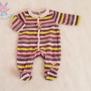 Pyjama velours rayé rose violet bébé fille 1 MOIS ORCHESTRA