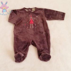 Pyjama velours prune Fée bébé fille 1 MOIS GRAIN DE BLE