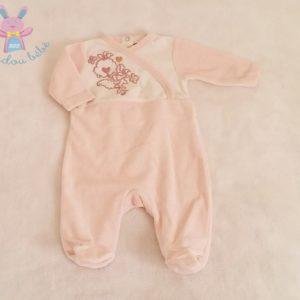 Pyjama velours rose blanc fleurs bébé fille 1 MOIS VERTBAUDET
