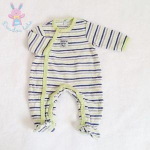 Pyjama velours rayé bleu vert bébé 1 MOIS PREMAMAN